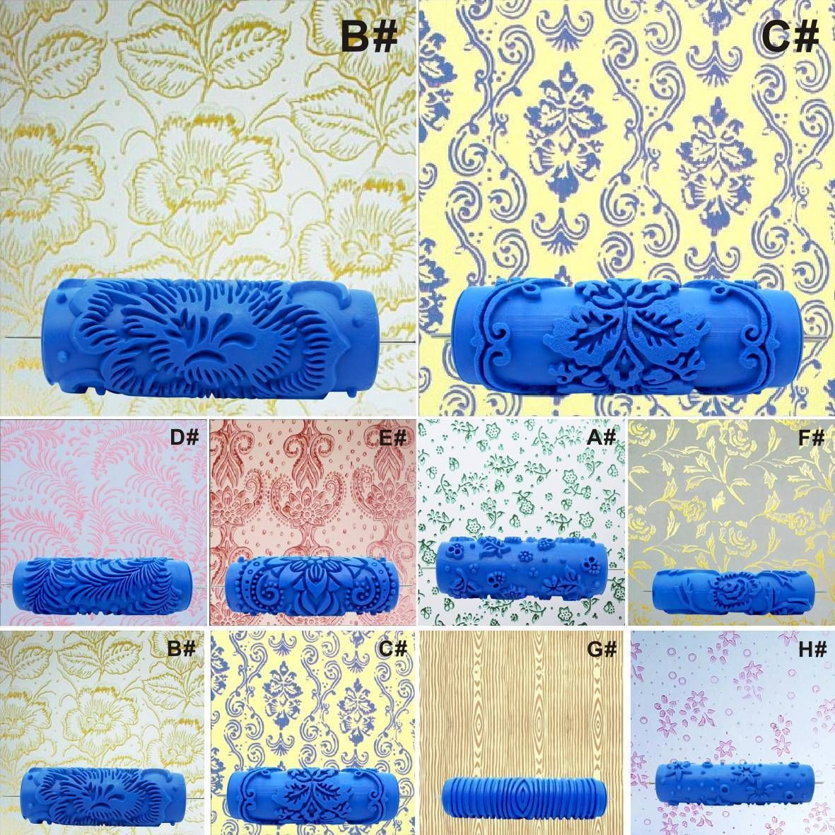 Details About Embossed Paint Roller Sleeve Wall Texture Stencil