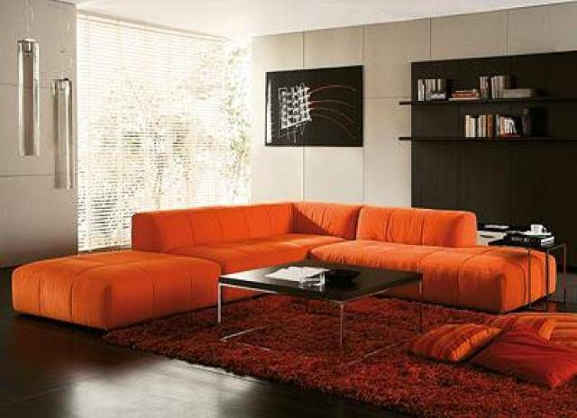 Orange Couch Living Room Ideas Area Rugs Size Sofa For 1 L I V N
