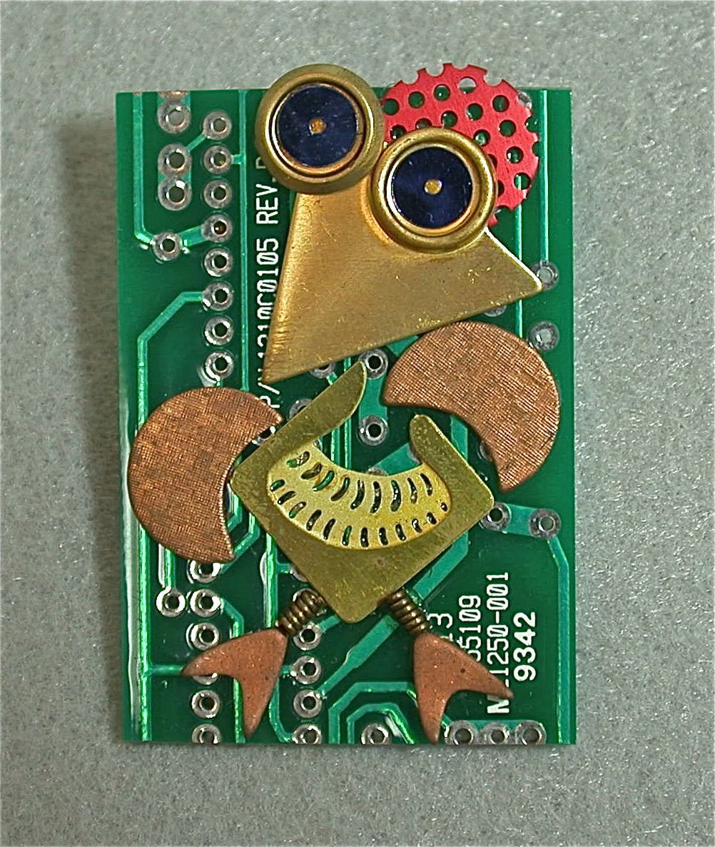 Recycled Circuit Board Brooch Vintage Metal Funky Steampunk Chicken Project Via Etsy