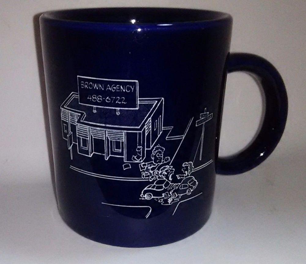 Vtg Farmers Insurance Coffee Mug Brown Agency St Paul Mn Cobalt