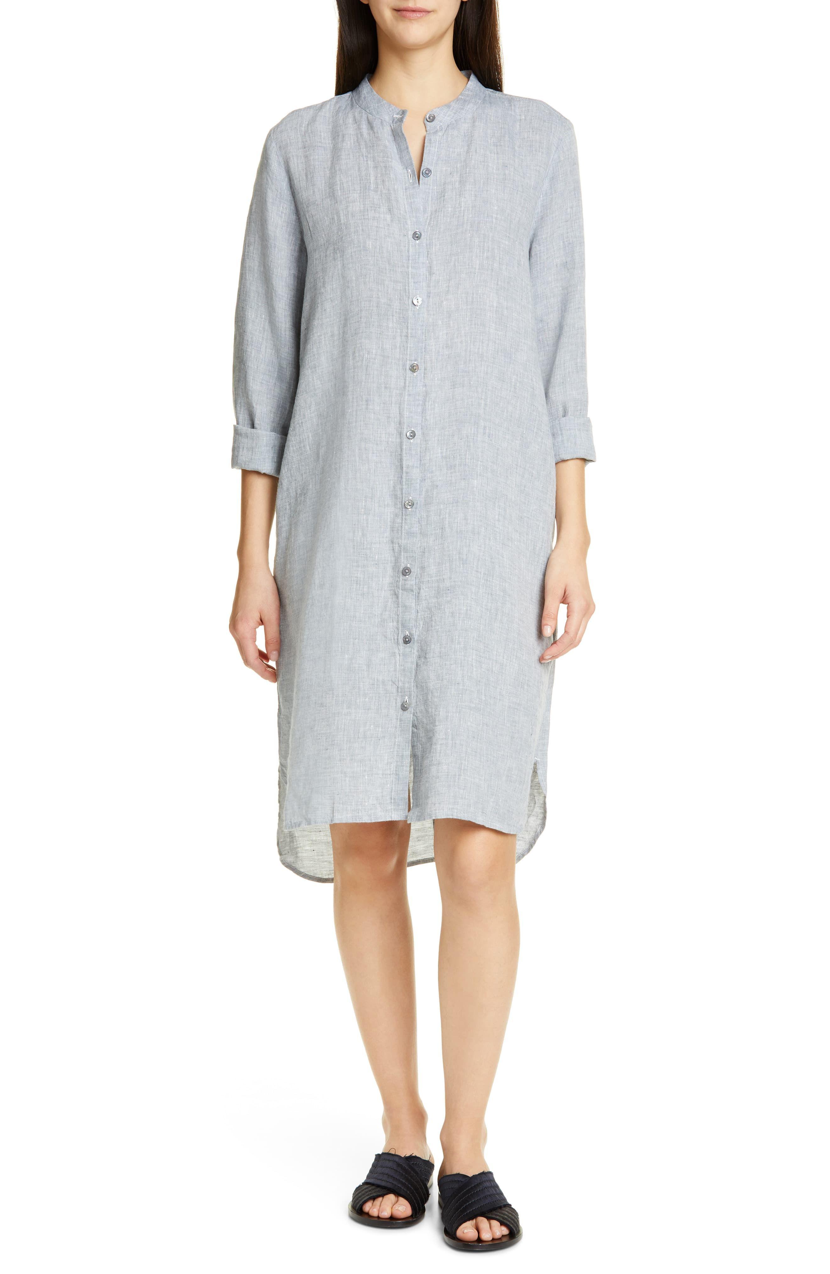 Petite Women S Eileen Fisher Button Down Organic Linen Shirtdress Size Medium P Blue Eileen Fisher Shirt Dress Fashion For Petite Women