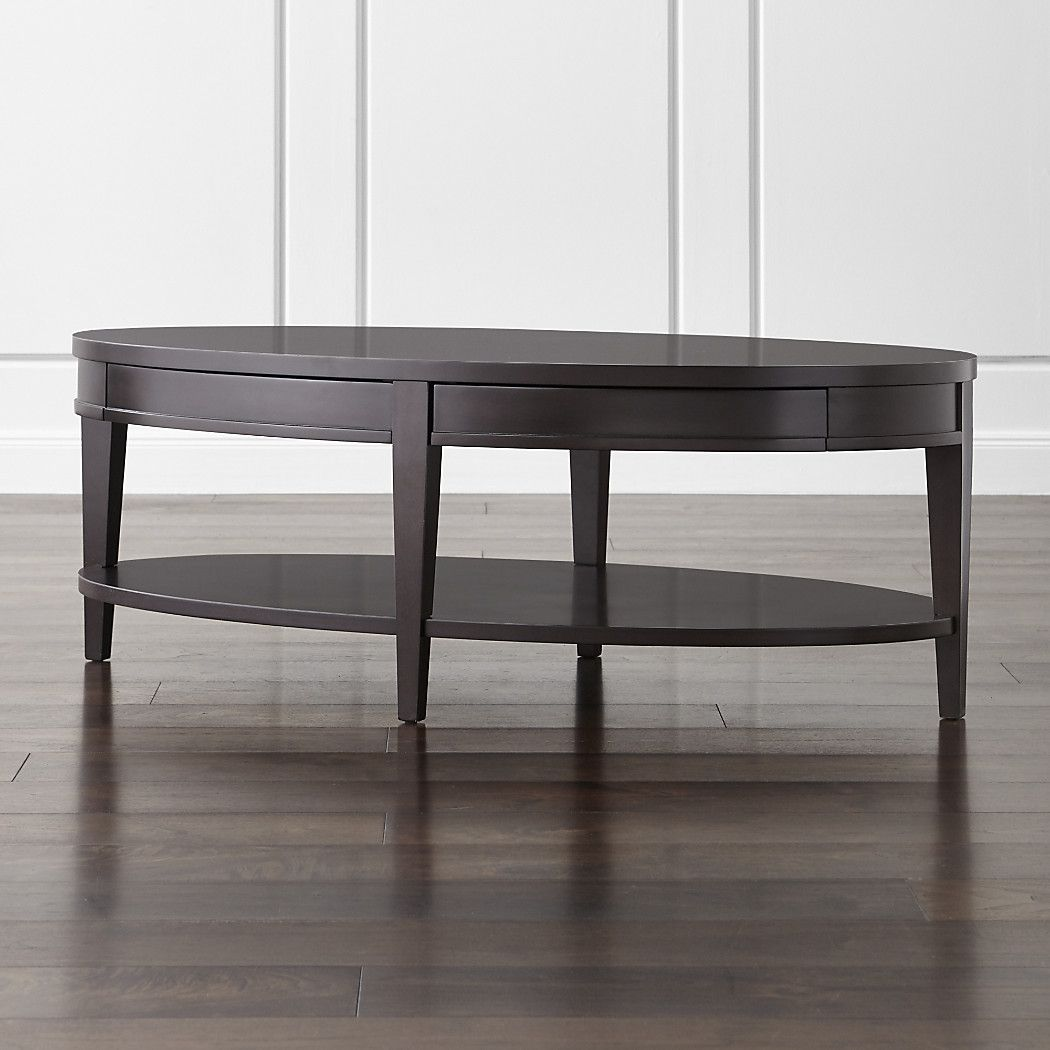 Shop colette oval coffee table with drawers designed by blake tovin the colette oval coffee table with drawers is a crate and barrel exclusive