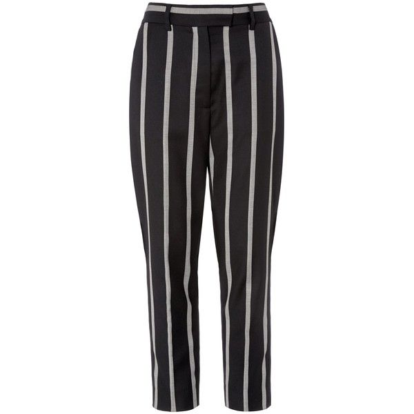 Black Marilyn Crop Trousers ($570) ❤ liked on Polyvore featuring pants, capris, cropped capri pants, cropped trousers, striped trousers, stripe pants and black stripe pants