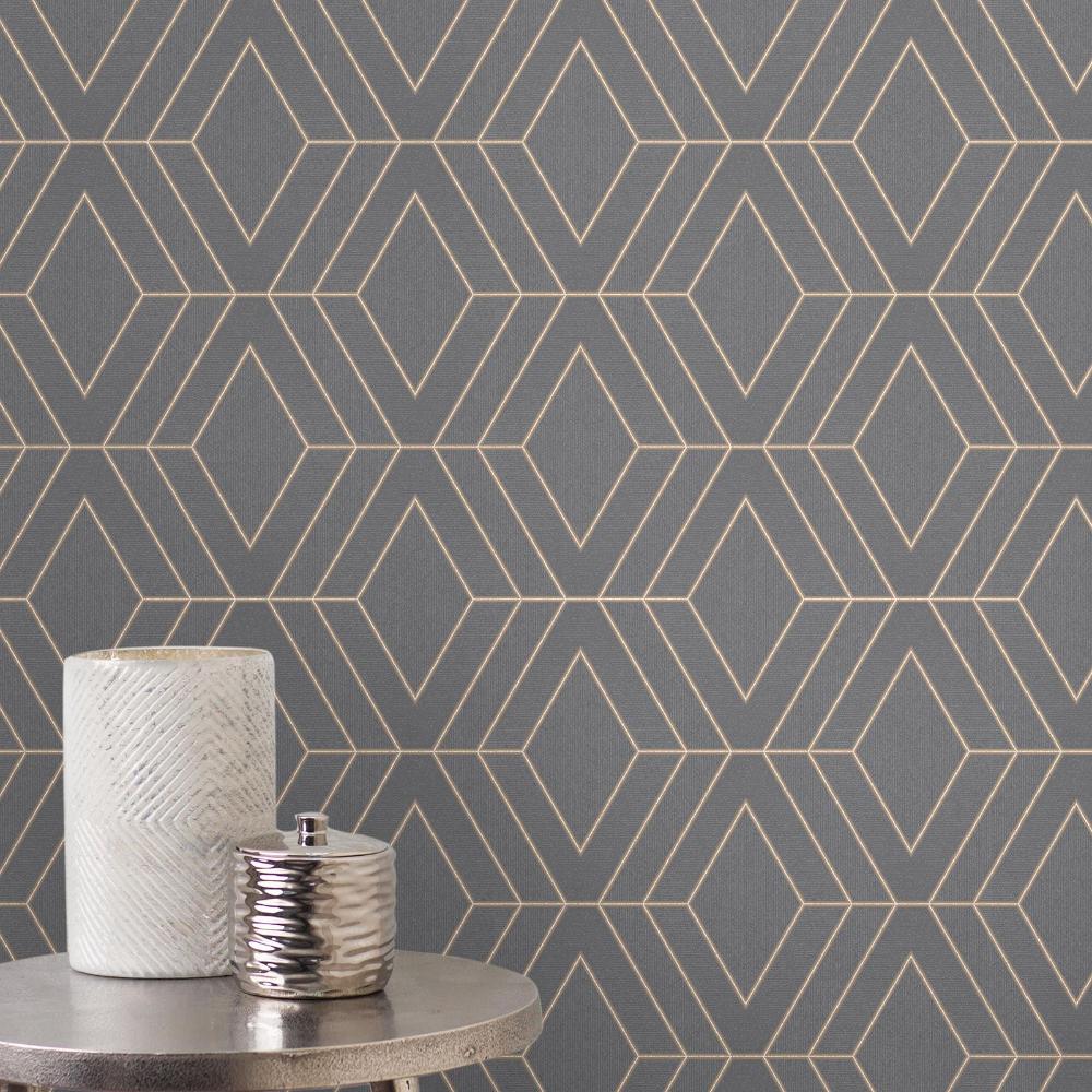 Pulse Diamond /& Geometric Wallpaper Metallic Glitter Mix n Match Fine Decor