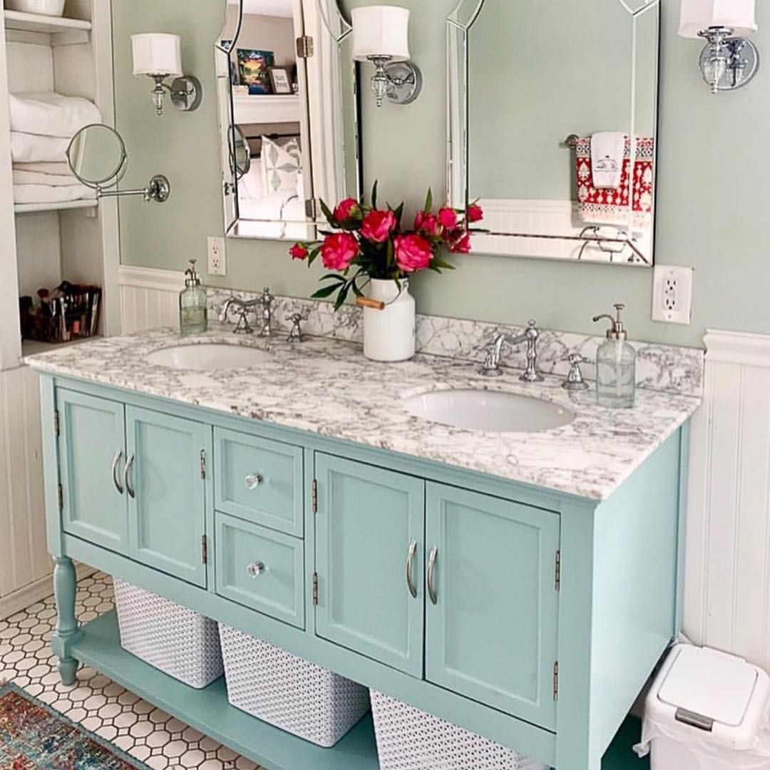 This French Country Bathroom Is So Glamorous With That Carrera Marble Frenchcountry Bathr French Country Bathroom Simple Bathroom Decor Small Bathroom Decor