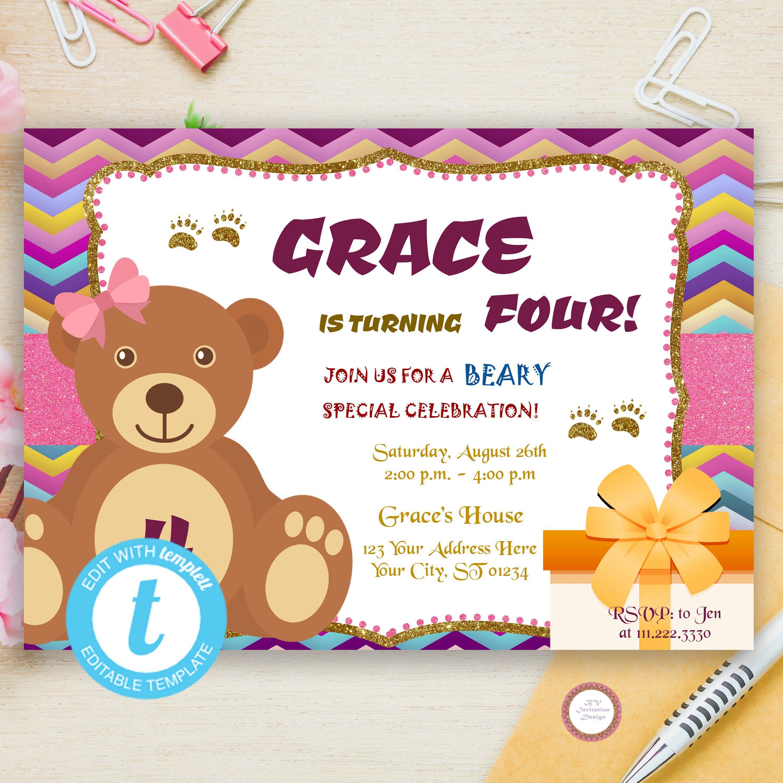 Little Bear Birthday Invitation Template Edit Yourself