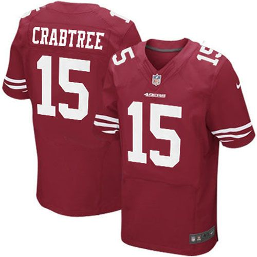 38898bca6 Men Nike San Francisco 49ers 15 Michael Crabtree Elite Red Team Color NFL  ...