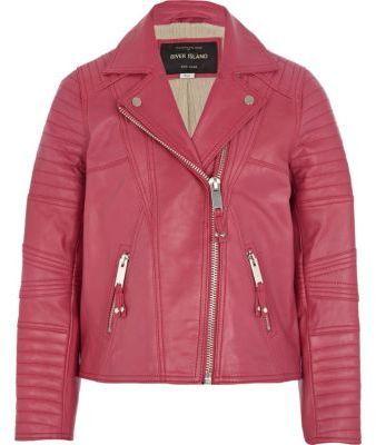 River Island Girls pink leather jacket on shopstyle.co.uk | kids ...