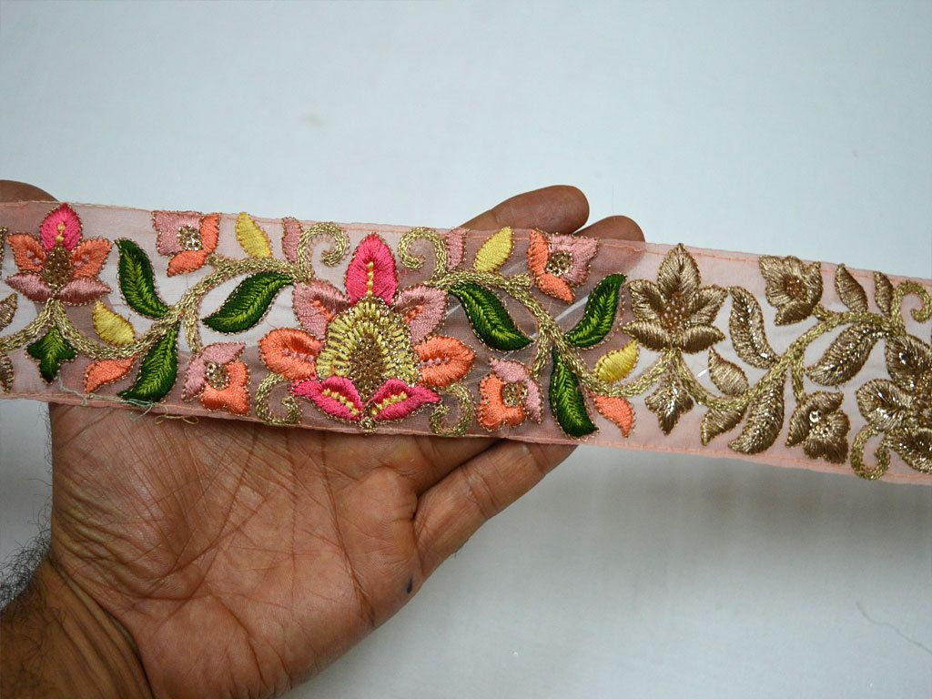 Pink Indian Laces Trim By The Yard Fabric Trim Embroidered Saree