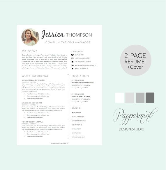 2 Page Resume Template with Cover Letter and photo for WORD - 2 page resume