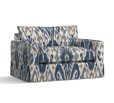 PB Comfort Square Arm Twin Armchair Sleeper Slipcover, Knife Edge, Ikat Geo Blue