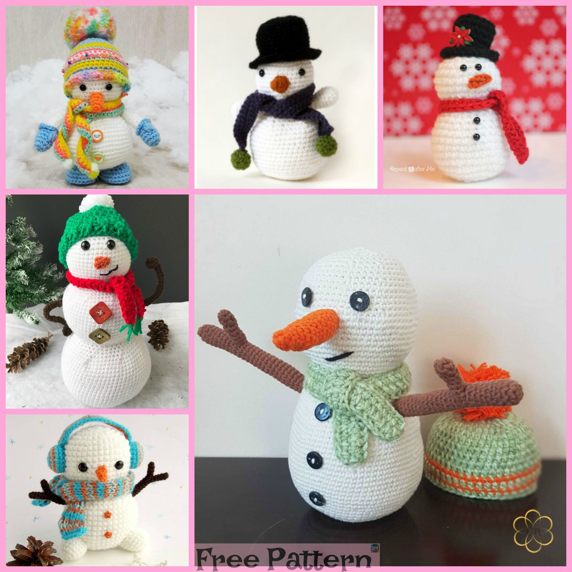8 Crochet Snowman Amigurumi Free Patterns | amigurumis | Pinterest ...