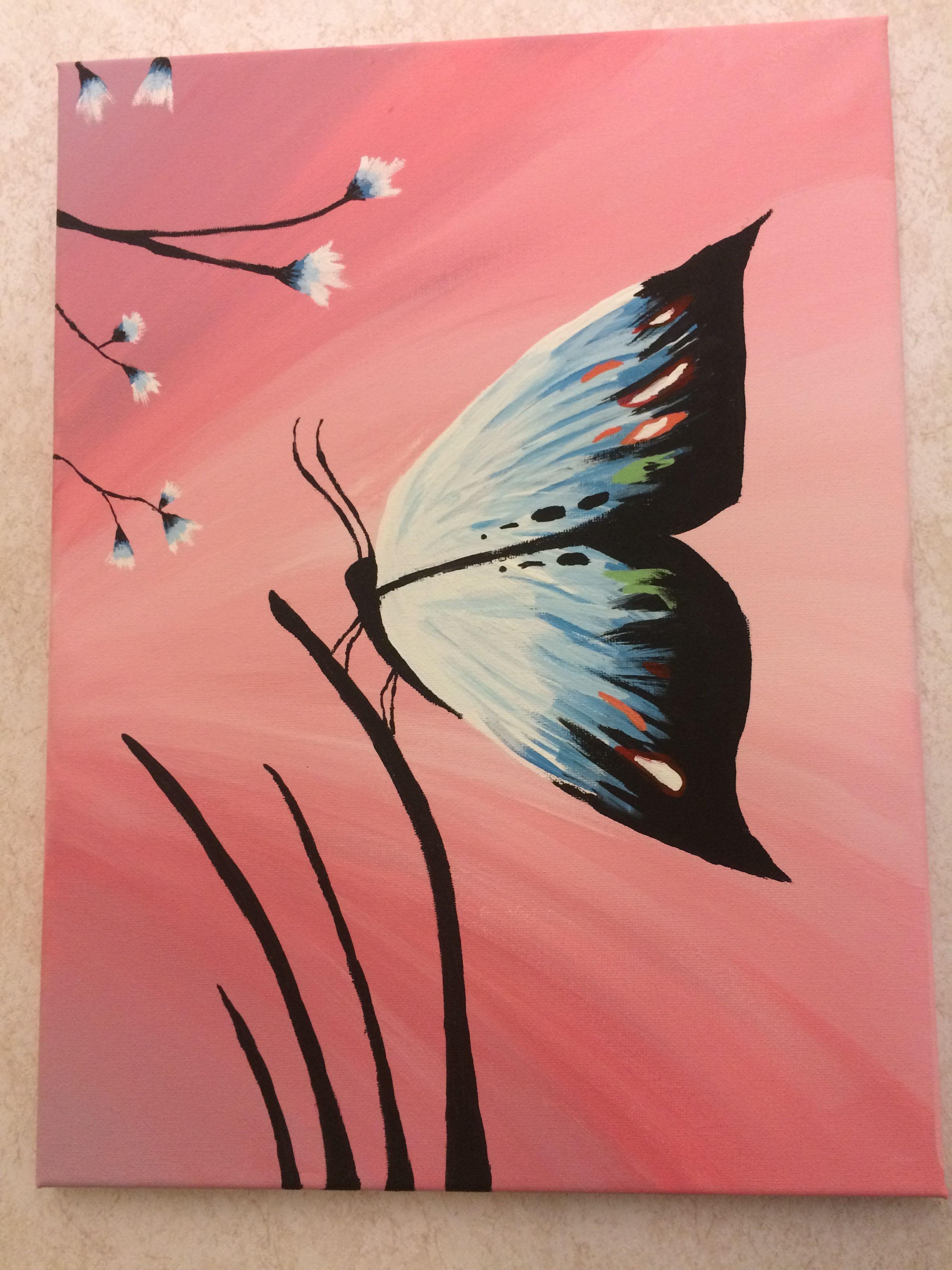 Paint Night Ideas Butterfly Butterfly Art Painting Night Painting Butterfly Painting