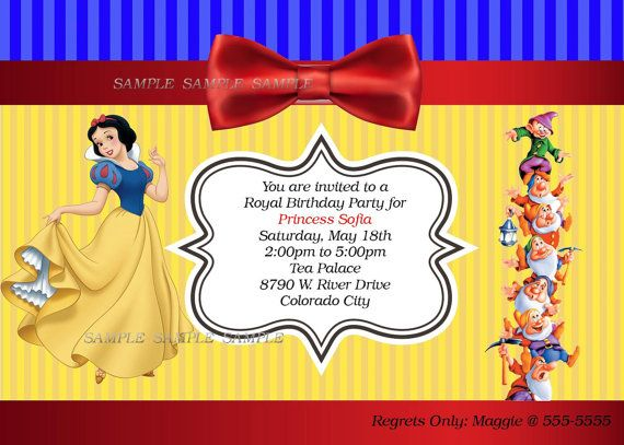 Snow White Personalized Printable Invitation Princess Etsy