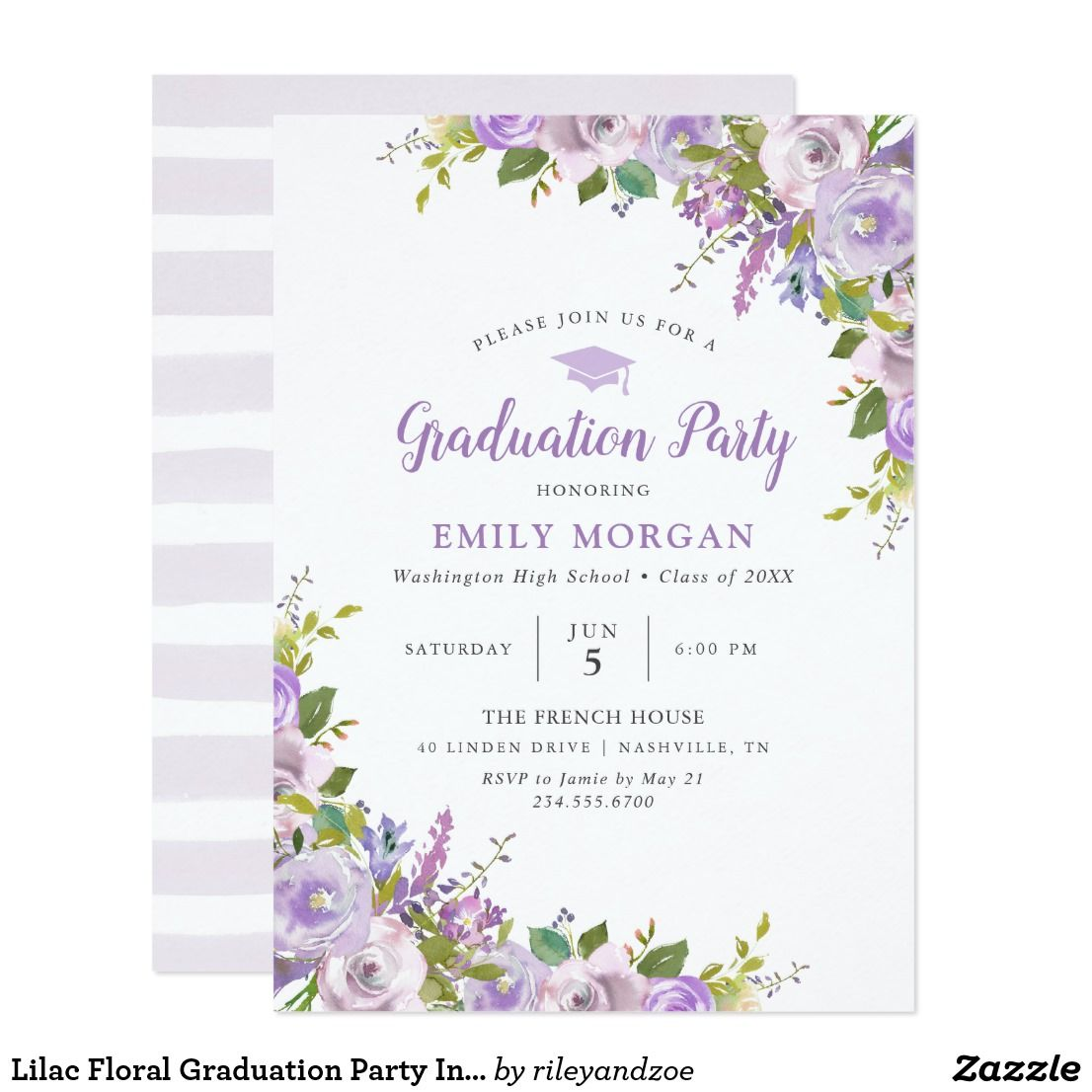 Lilac Floral Graduation Party Invitation