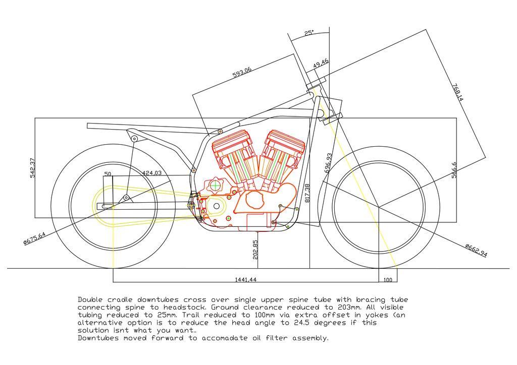 HarleyDavidson XL Sportster custom frame blueprint w