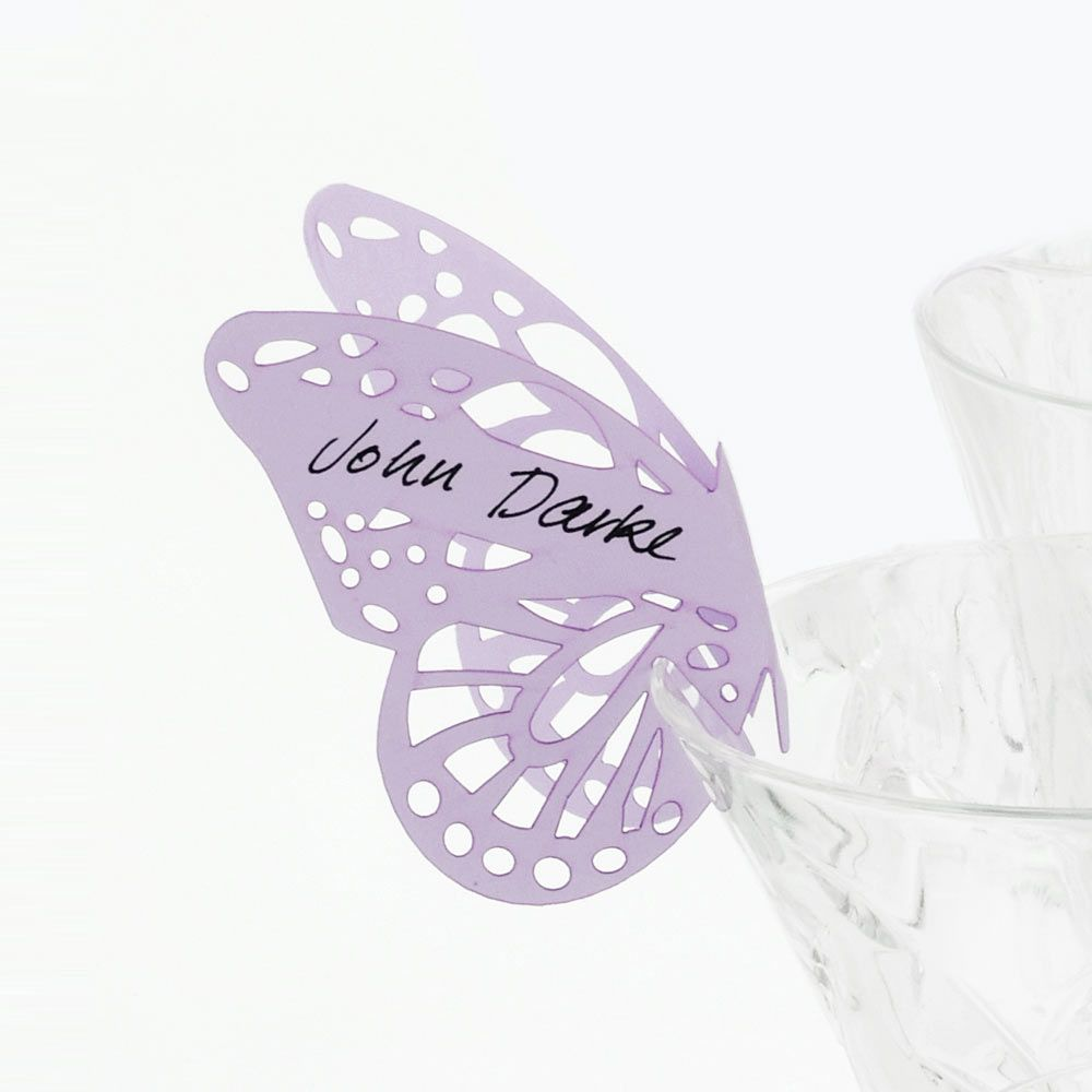 Lilac Pearl Butterfly Place Cards for Glasses - 10 pack