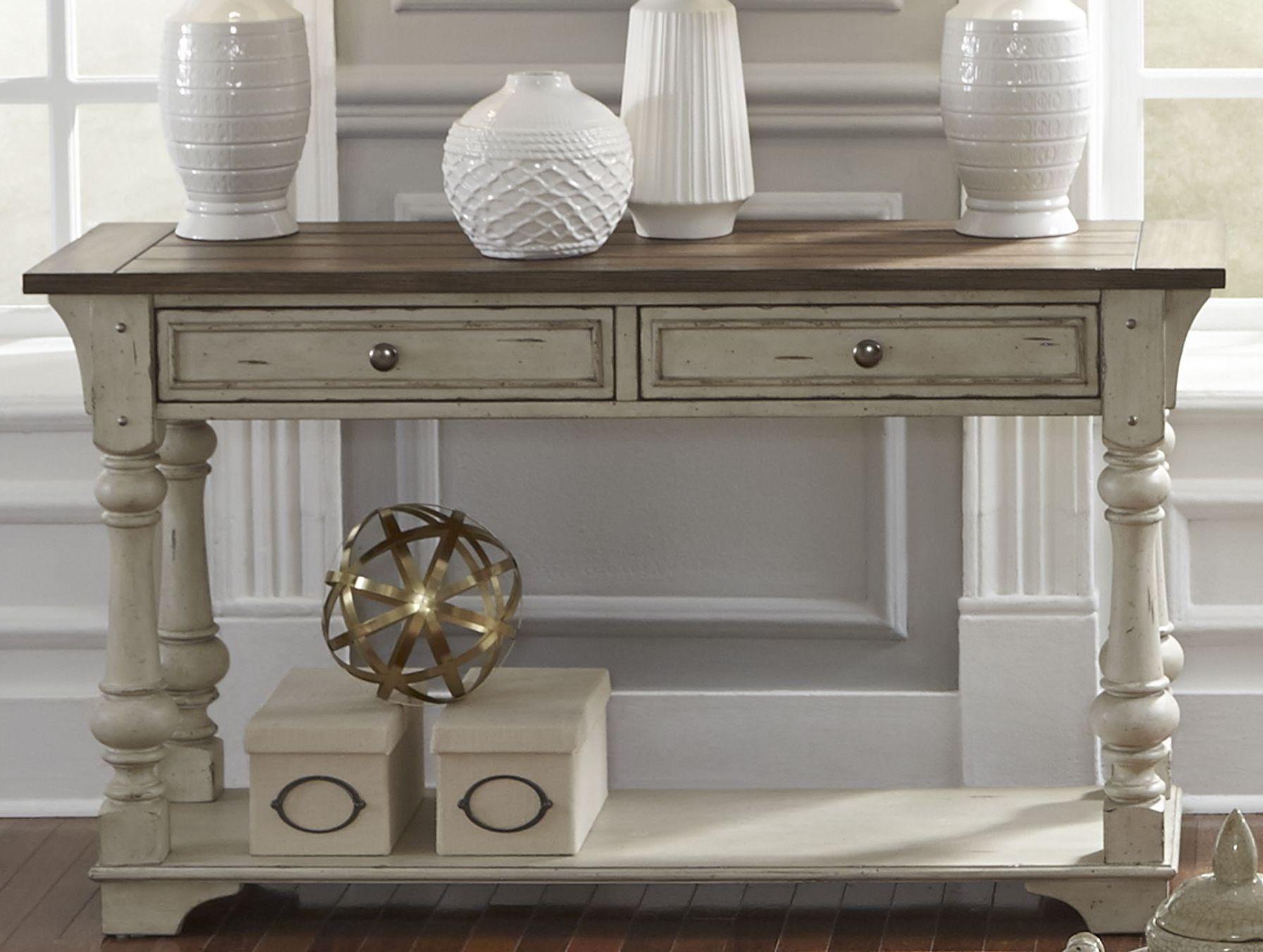 Morgan Creek Antique White Sofa Table In 2021 White Sofa Table Sofa Table Liberty Furniture