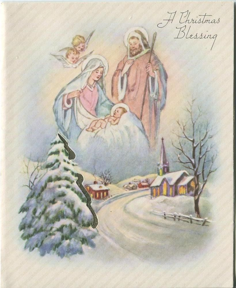 Vintage christmas christ child angels church snow mary joseph vintage christmas christ child angels church snow mary joseph card print kristyandbryce Images