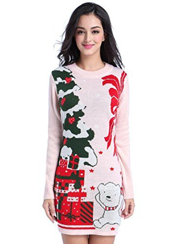 Women Christmas Sweater V28 Ugly Cowl Neck Cute Reindeer Xmas