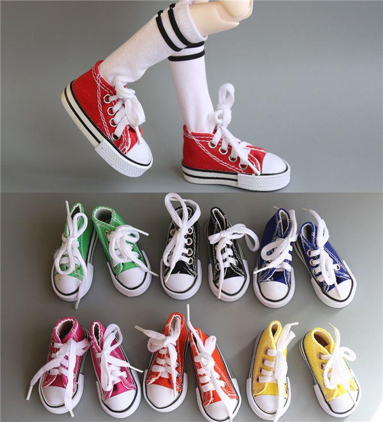 한 쌍의 모듬 색상 7.5 센치메터 캔버스 신발 BJD 인형 패션 미니 장난감 신발 Bjd 인형 신발 러시아어 인형 액세서리