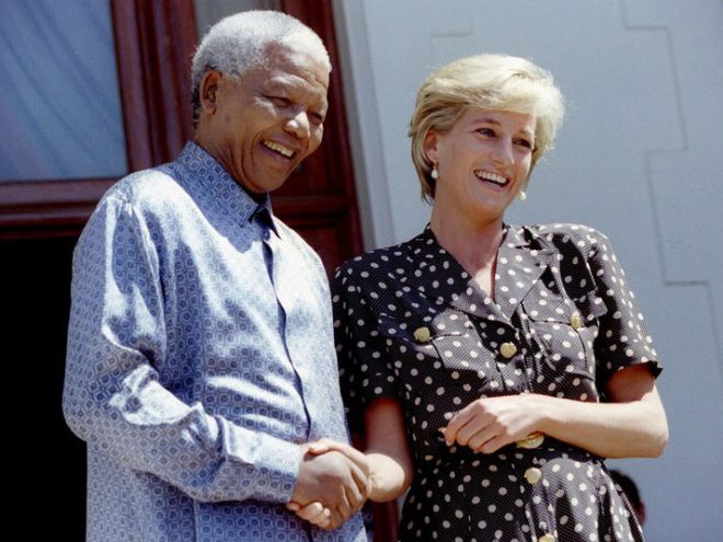 March 17, 1997: Diana, Princess of Wales met with South African President Nelson Mandela, in Cape Town, South Africa while visiting her brother, Charles. Princess Diana met with Mandela to discuss the threat of AIDS in South Africa