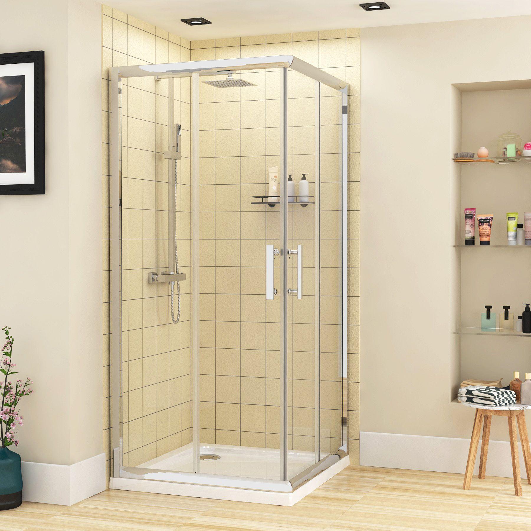 Plaza 6mm Corner Entry Shower Enclosures Various Sizes In 2020 Shower Enclosure Shower Cubicles Sliding Doors