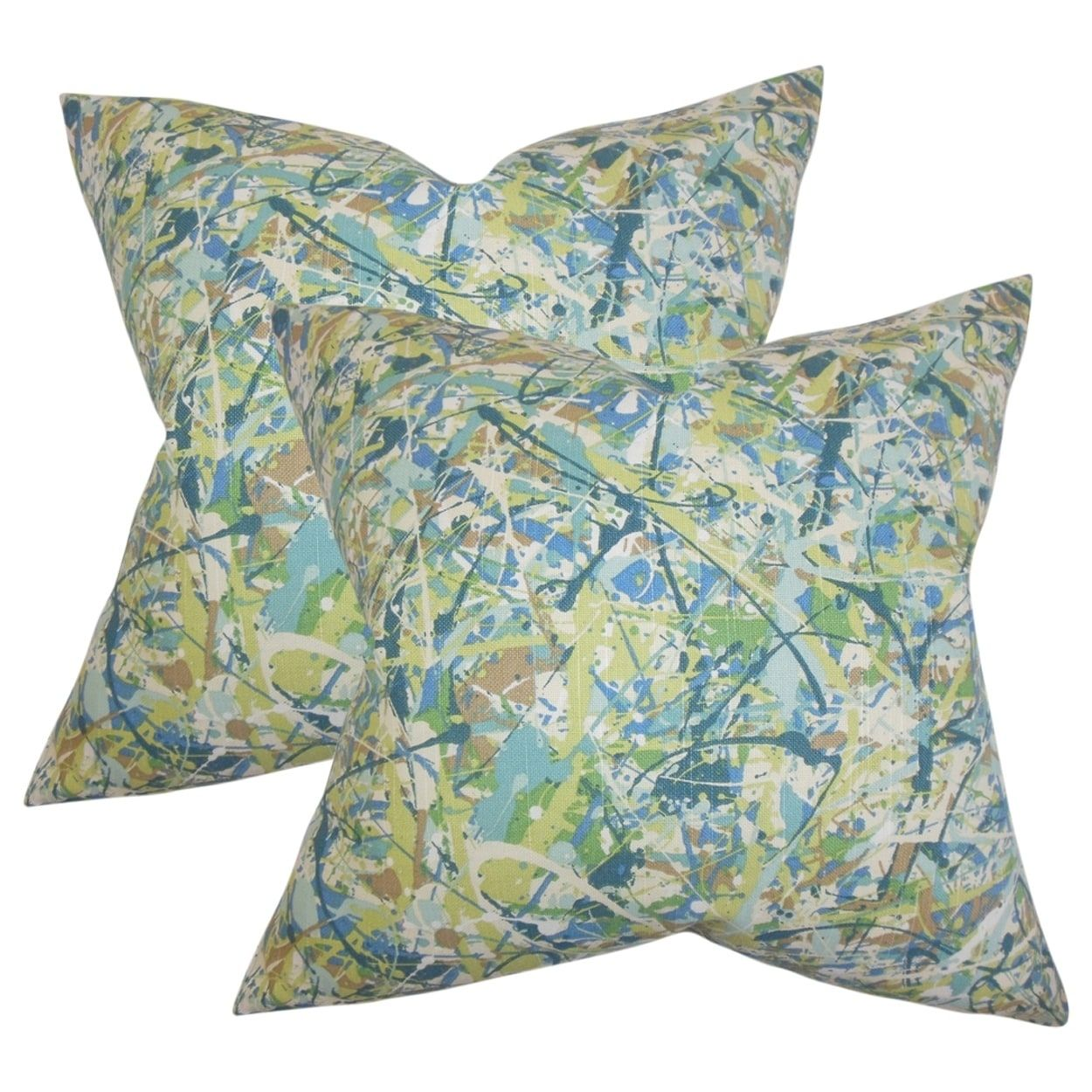 Set of 2 Geneen Geometric Throw Pillows in Green, Size 18 x 18 (Cotton, Graphic Print)