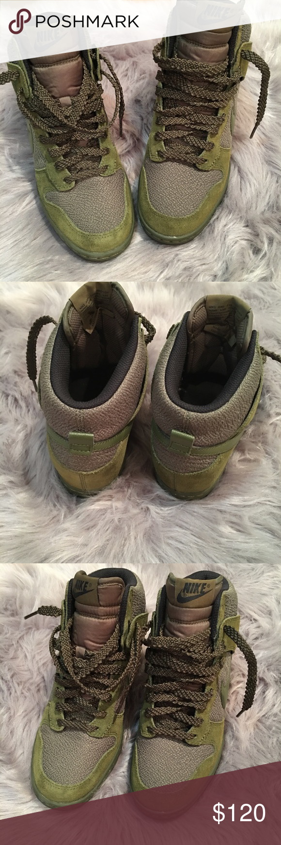 new style 183f3 6c22b Nike Dunk Sky Hi Womens Olive Army Green Wedge 6 Nike Dunk Sky Hi Womens  Olive Army Green Carbon Night Silver Wedge Shoes Sz 6 Nike Shoes Sneakers