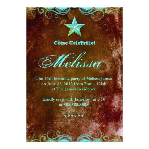 Western Sweet 16 Invitation Blue Brown Star