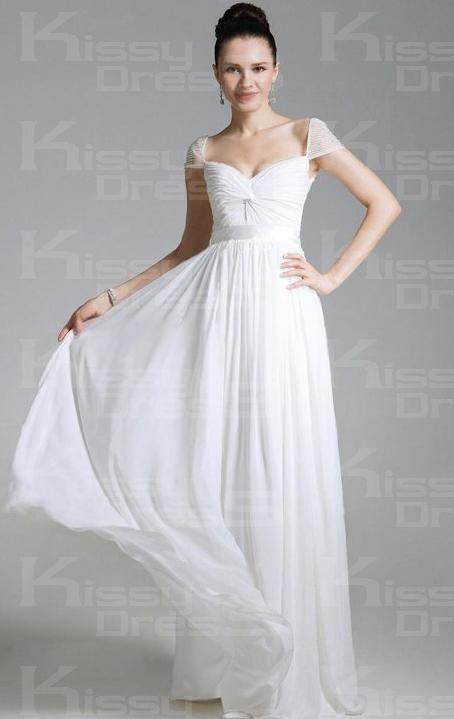 Long White Chiffon Dress - Fn Dress