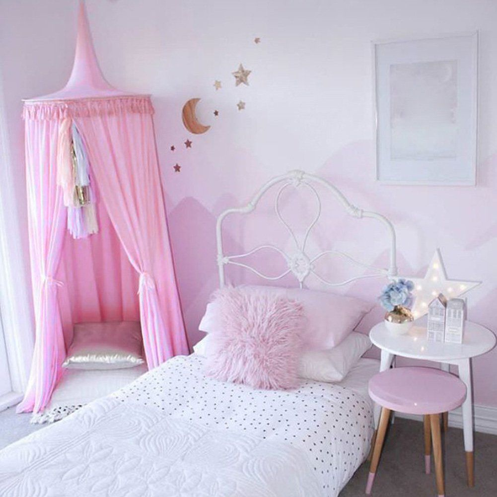 pueri bett baldachin betthimmel moskitonetz dome prinzessin zelte f r baby kinder rosa deko. Black Bedroom Furniture Sets. Home Design Ideas