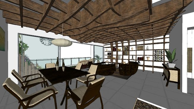 Restaurant Interior Sketchup : Large preview of d model coffee sketchup