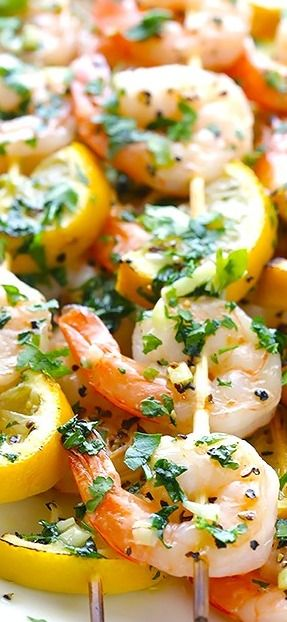 Shrimp Scampi Skewers Recipe Skewer Recipes Grilling Recipes My Favorite Food