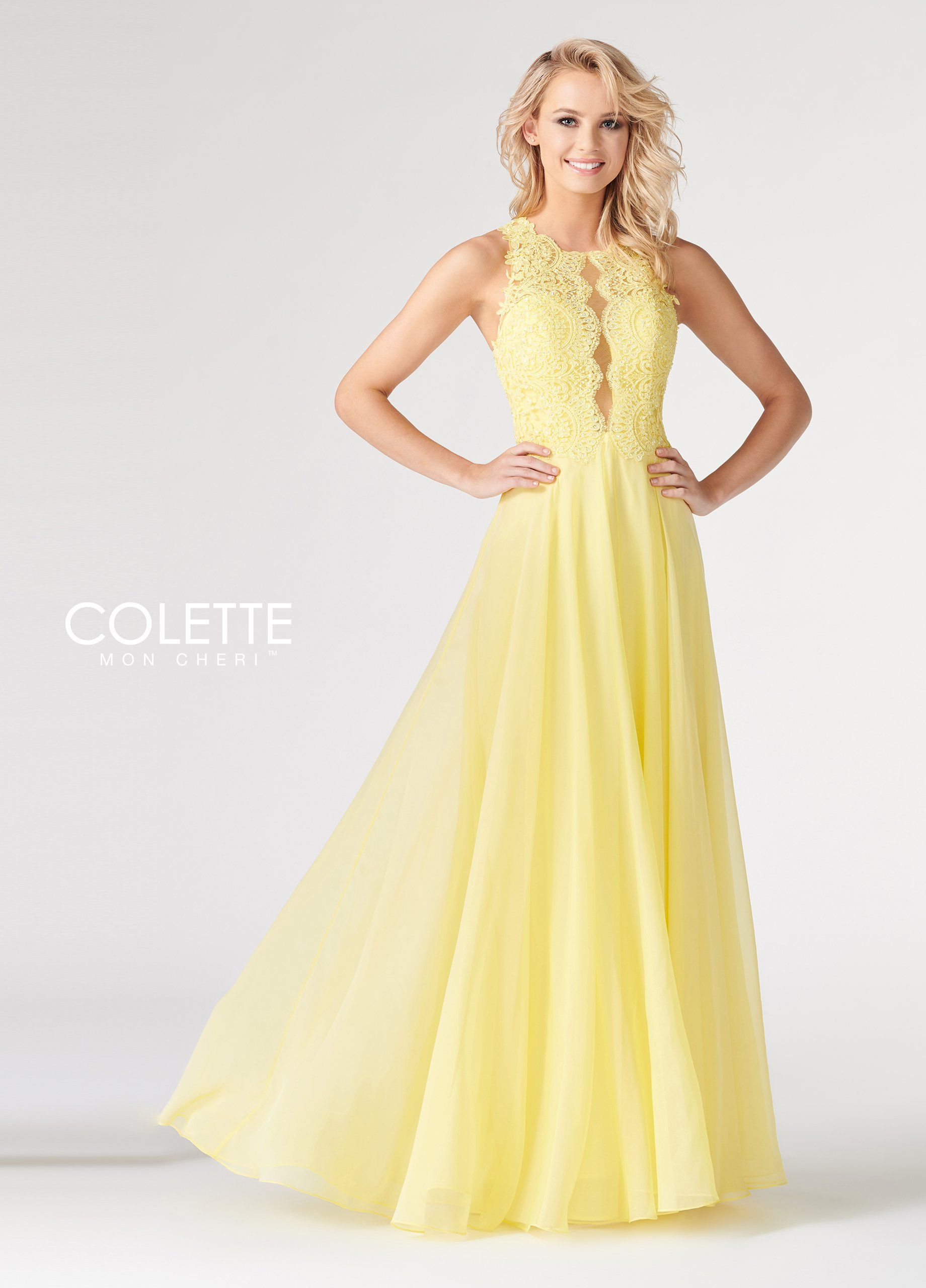 Colette Cl19829 Yellow High Neck Lace Prom Dress Size 16 Yellow Chiffon Dress Sheer Yellow Dress Dresses [ 2560 x 1840 Pixel ]