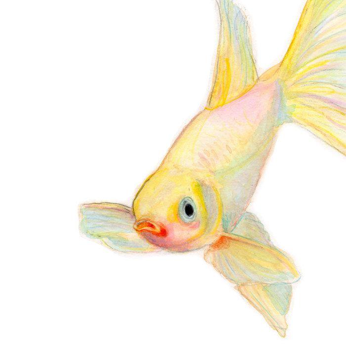YELLOW GOLDFISH wall art - Watercolor painting Japanese art yellow ...