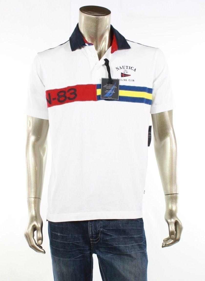 NAUTICA NEW White Shirt Polo Rugby Short Sleeve Graphic Top Mens ... 4e9e7a95d0035