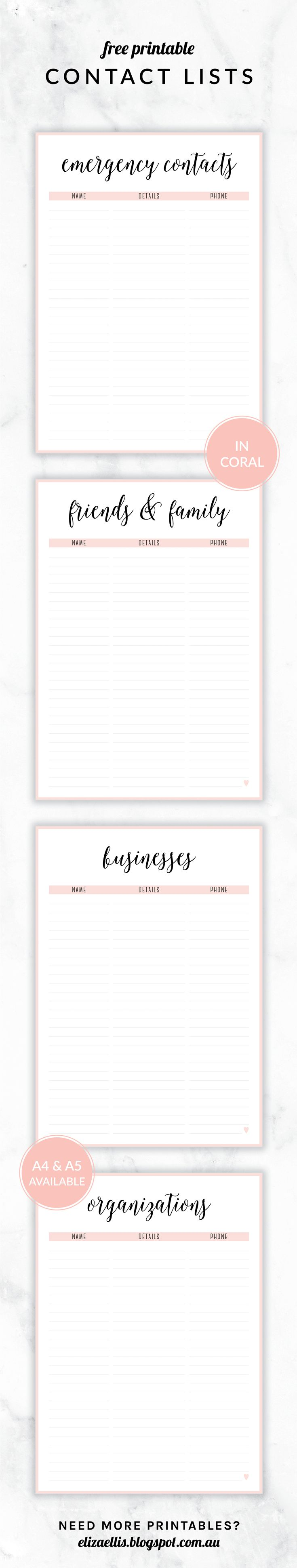 Free Printable Irma Contact Lists Eliza Ellis Including Emergency Contact List Friends And Family Businesses Planner Printables Free Free Printables Free