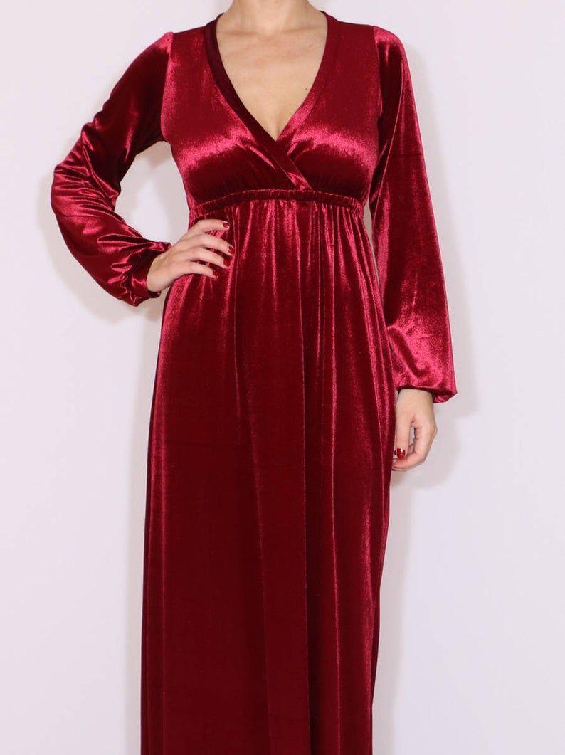 Wine Red Long Velvet Dress Burgundy Maxi Dress Long Dress Etsy In 2020 Maxi Dress Long Maxi Dress Burgundy Maxi Dress