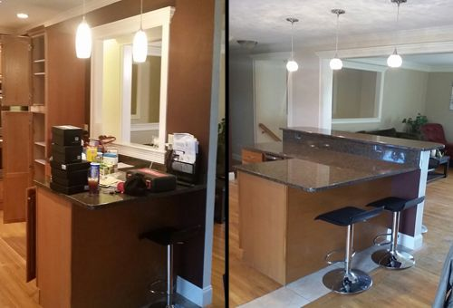 Amazing Before And After Wall Removal Adding New Granite Bar