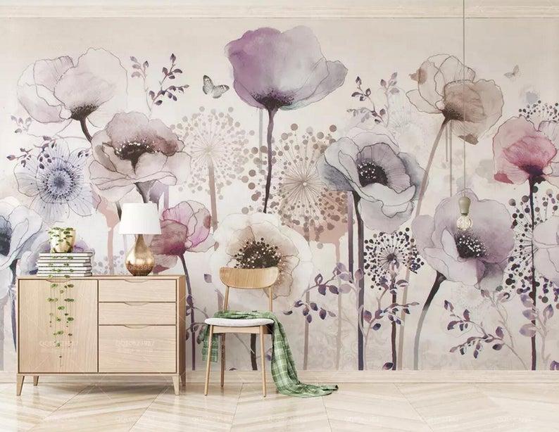 3D Floral, Watercolor, Purple flower Self Adhesive