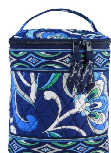 Cool Keeper in Mediterranean Blue by Vera Bradley.  Pre-owned in hard to find Retired pattern  • free ship •     Handy as bottle holder, travel cosmetic case.  Smaller lunch or multiple snack containers.