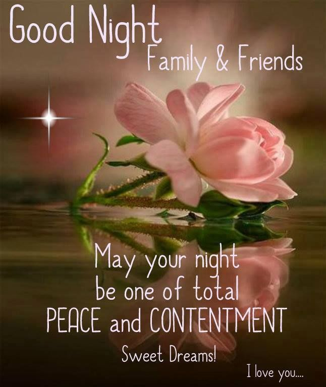 Good Night Family Friends May Your Night Be One Of Total Peace And