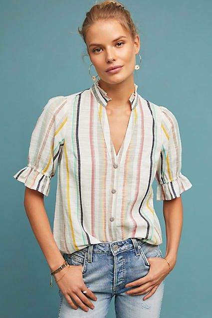 8af9195e7986 Maeve Alisa Striped Buttondown  anthro  anthropologie  striped  blouse  top   saltylashes