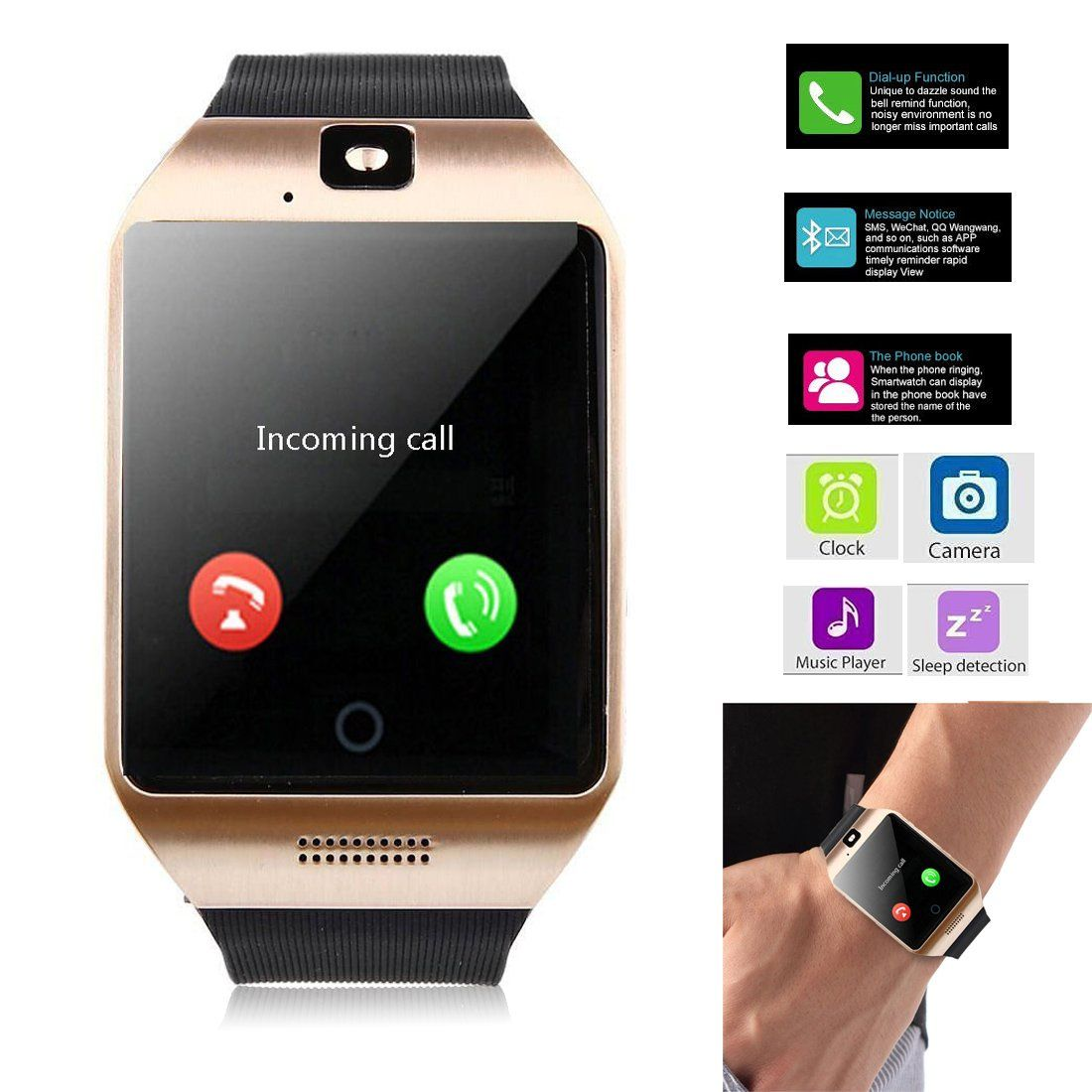 Smartwatch Unlocked Watch Cell Phone All in 1 Bluetooth