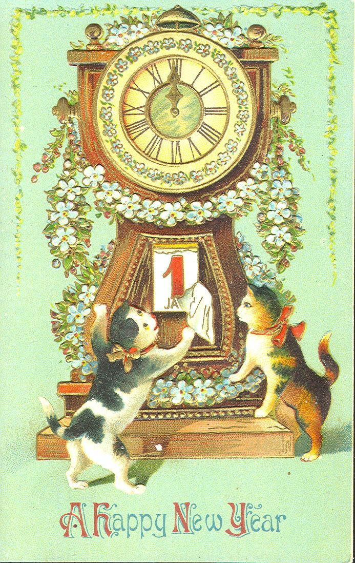 Edwardian A Happy New Year Postcard With Gilt Embossing Series Of Four Cards Vintage Happy New Year Cat Christmas Cards Vintage Cards