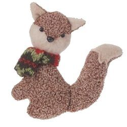 475 Country Cabin Brown Stuffed Fox with Red and Green Scarf Christmas Ornament