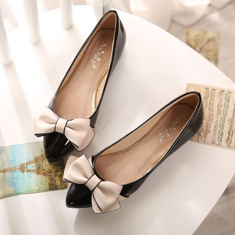 Free shipping spring women's shallow mouth casual 43 plus size single shoes pointed toe bowknot comfortable flat heel shoes