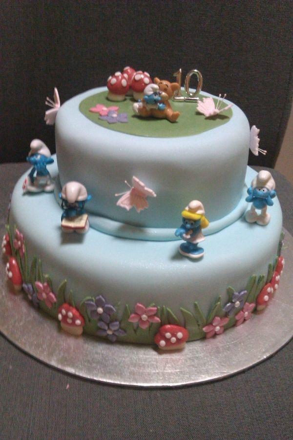 Smurf Birthday Cakedrew Would Love This Kid Stuff Pinterest