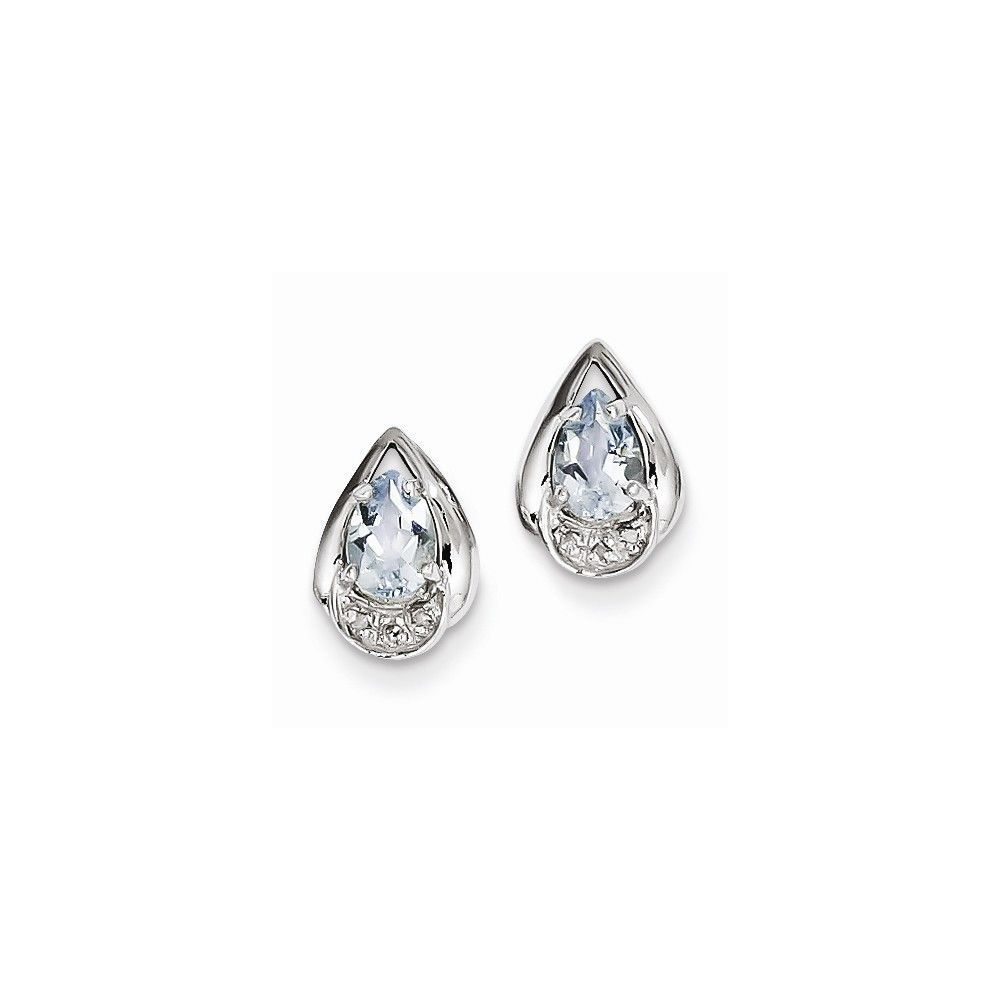 Sterling Silver Rhodium Plated Diamond & Aquamarine Post Earrings